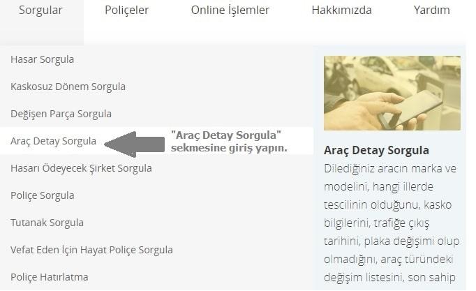 online arac detay sorgulama